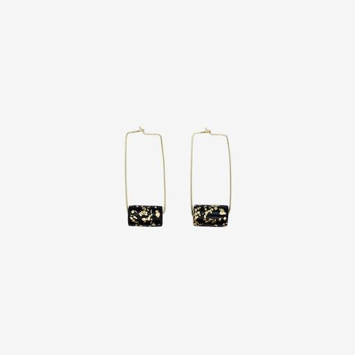 Gold Rectangle Earring - Black & Specks Bead