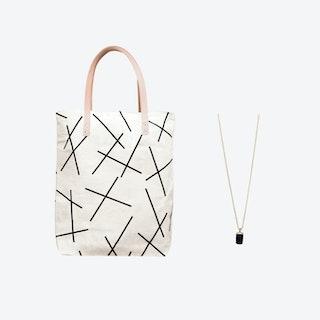 Mikado Bag + Tiny Weight Charm Necklace