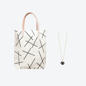 Mikado Bag + Black Ball Charm Necklace