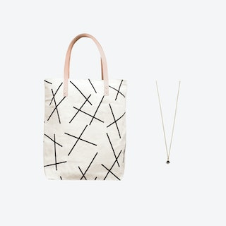 Mikado Bag + Tiny Triangle Charm Necklace