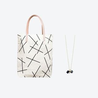 Mikado Bag + Triple Charm Necklace