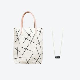 Mikado Bag + Black & Specks Bead Necklace