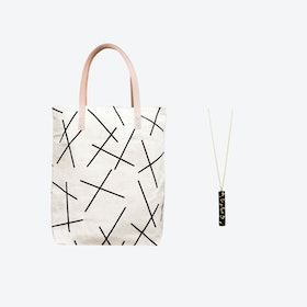 Mikado Bag + Black & Specks Pendant Bar Necklace