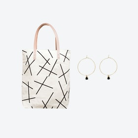 Mikado Bag + Tiny Triangle Charm Hoop Earrings