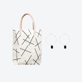 Mikado Bag + Tiny Weight Charm Hoop Earrings