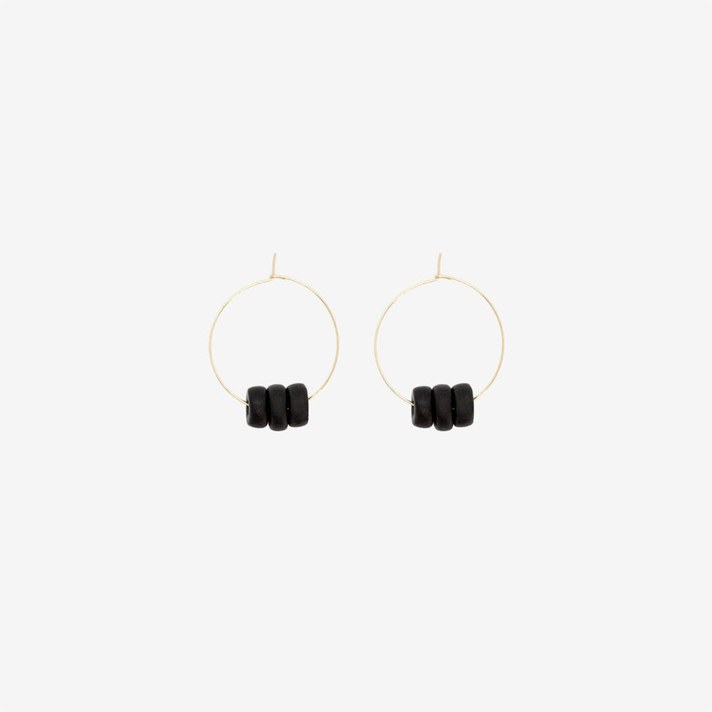 Gold Hoop Earring - Black Disk Beads