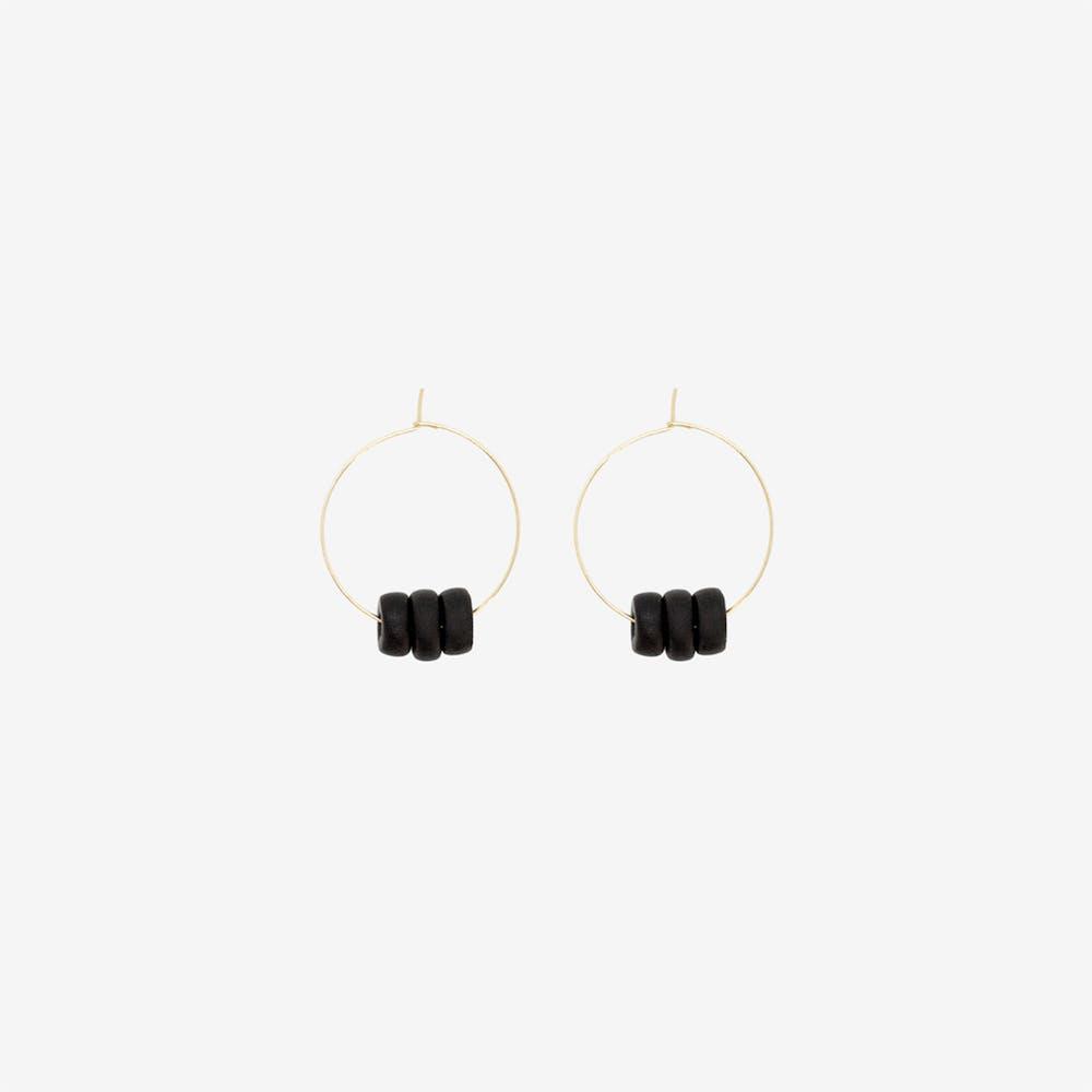 Gold Hoop Earring - Black Disk Beads