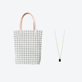 Black Grid Bag + Tiny Weight Charm Necklace