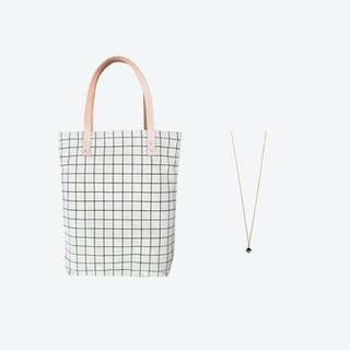 Black Grid Bag + Tiny Triangle Charm Necklace