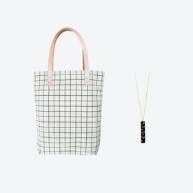 Black Grid Bag + Black & Specks Pendant Bar Necklace