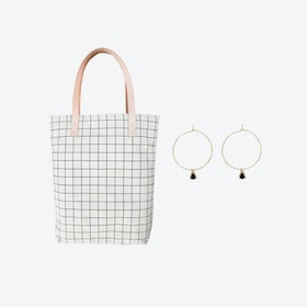 Black Grid Bag + Tiny Triangle Charm Hoop Earrings