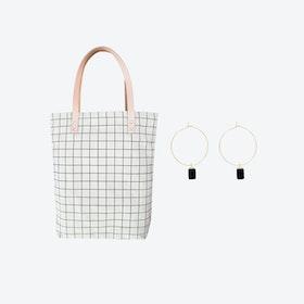 Black Grid Bag + Tiny Weight Charm Hoop Earrings