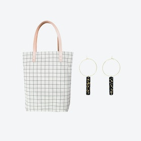 Black Grid Bag + Black Hoop Earrings Black w/ Specks Bar Pendant