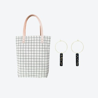 Black Grid Bag + Black Hoop Earrings Black w/ Specks Bar Pendant