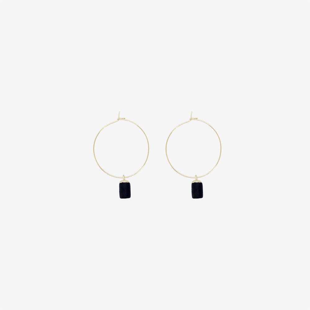 Gold Hoop Earring - Tiny Weight Charm Pendant