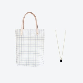 Ash Blue Grid Bag + Tiny Weight Charm Necklace