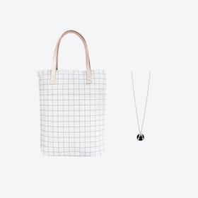Ash Blue Grid Bag + Black Ball Charm Necklace