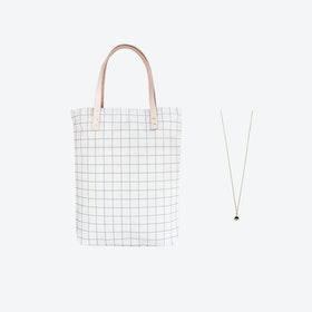 Ash Blue Grid Bag + Tiny Triangle Charm Necklace