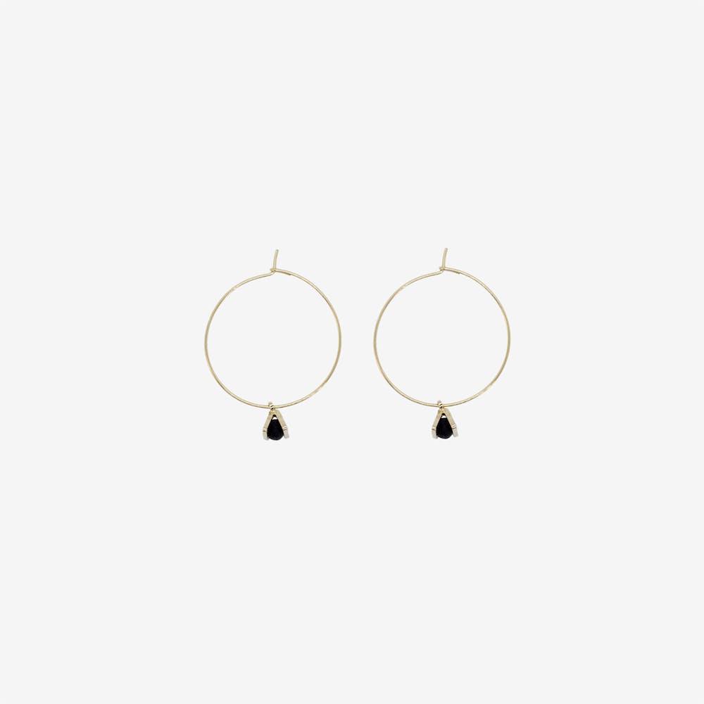 Gold Hoop Earring - Tiny Triangle Charm Pendant