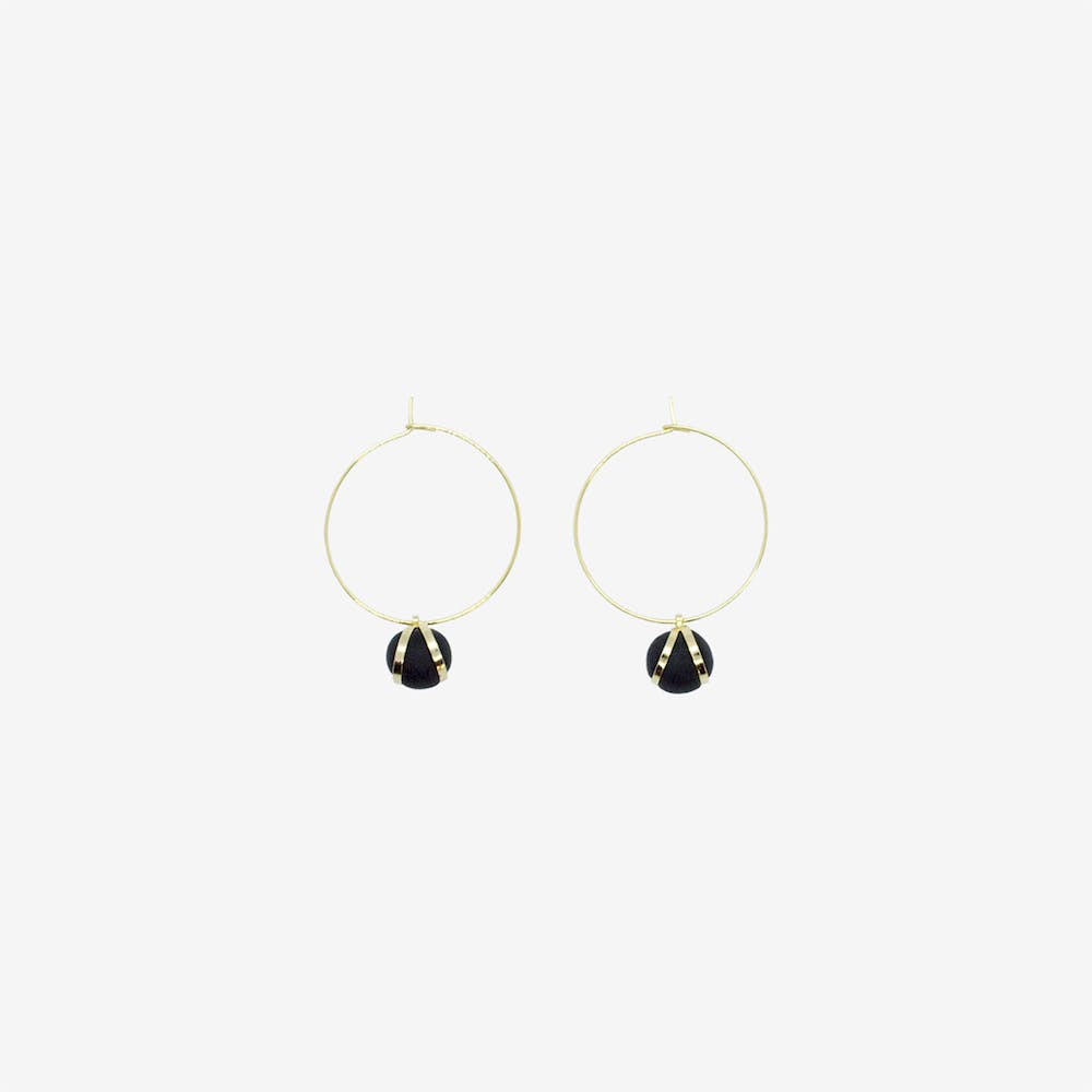 Gold Hoop Earring - Black Ball Bead Pendant