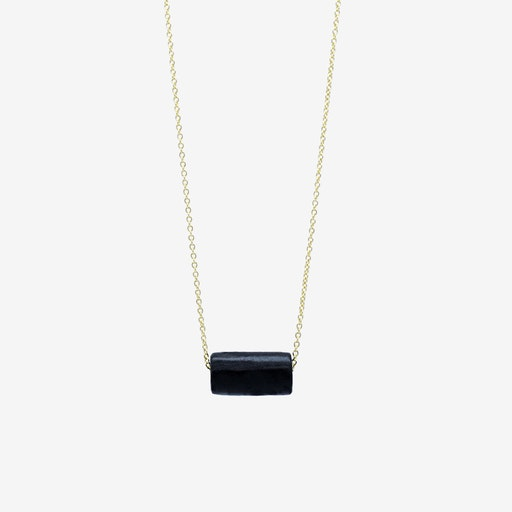 Gold Necklace - Black Tube Bead Pendant