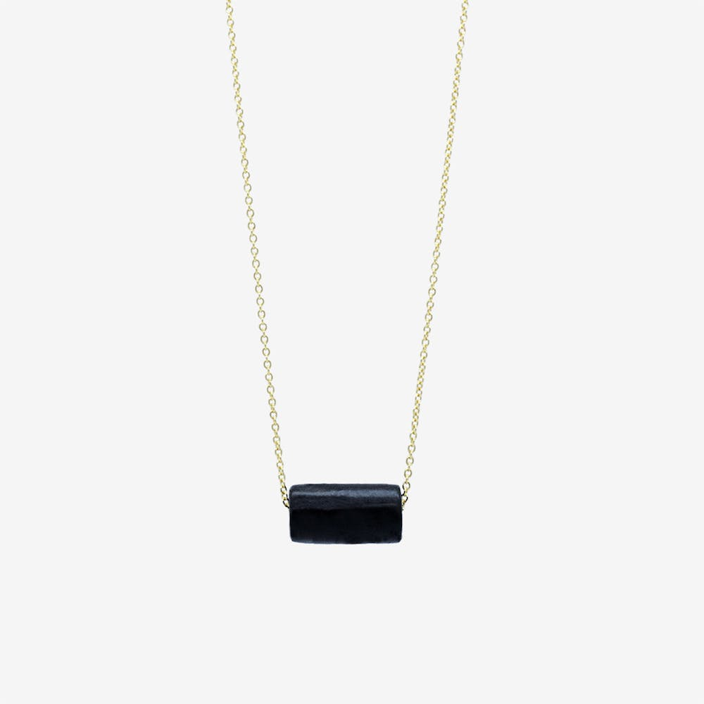 Gold Necklace - Black Tube Bead Pendant