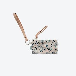 Key Chain + Card Coin Pouch - Blue/Peach I