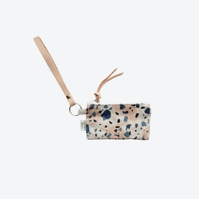 Key Chain + Card Coin Pouch - Blue/Peach II