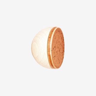 Round Wall Coat Hook / Knob - Terracotta Orange / Black Specks - Beech Wood & Ceramic