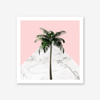 Palm Tree on Pink and Marble Wall Art Print
