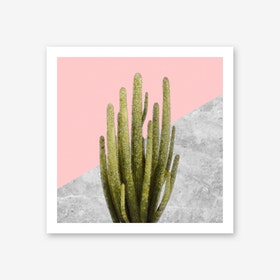 Cactus on Pink and Grey Marble Wall Art Print