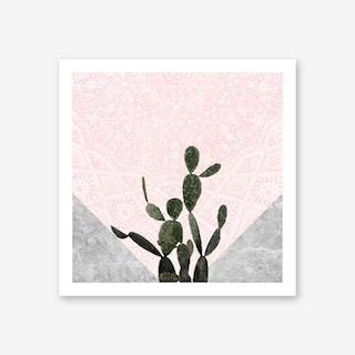 Cactus on Concrete and Pink Persian Mosaic Mandala Wall Art Print