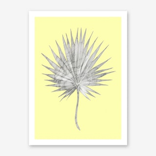 White Marble Fan Palm Leaf on Yellow Wall Art Print