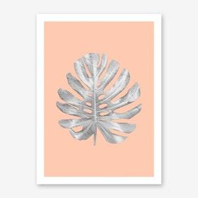 White Marble Monstera on Peach Wall Art Print