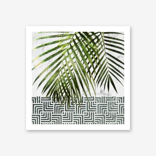 Palm Leaves on White Marble and Tiles Art Print