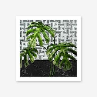 Monstera Leaves on Black Marble and Tiles Art Print