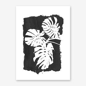 Monstera on Black Art Print