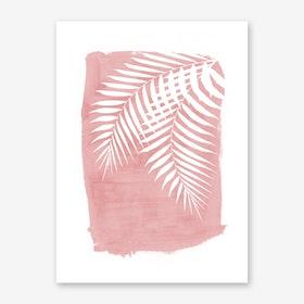 Palm Leaves on Pink Art Print