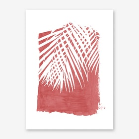 Palm Leaves on Red Art Print
