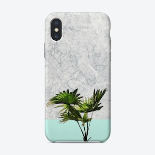 Palm Plant on Marble and Pastel Blue Wall iPhone Case