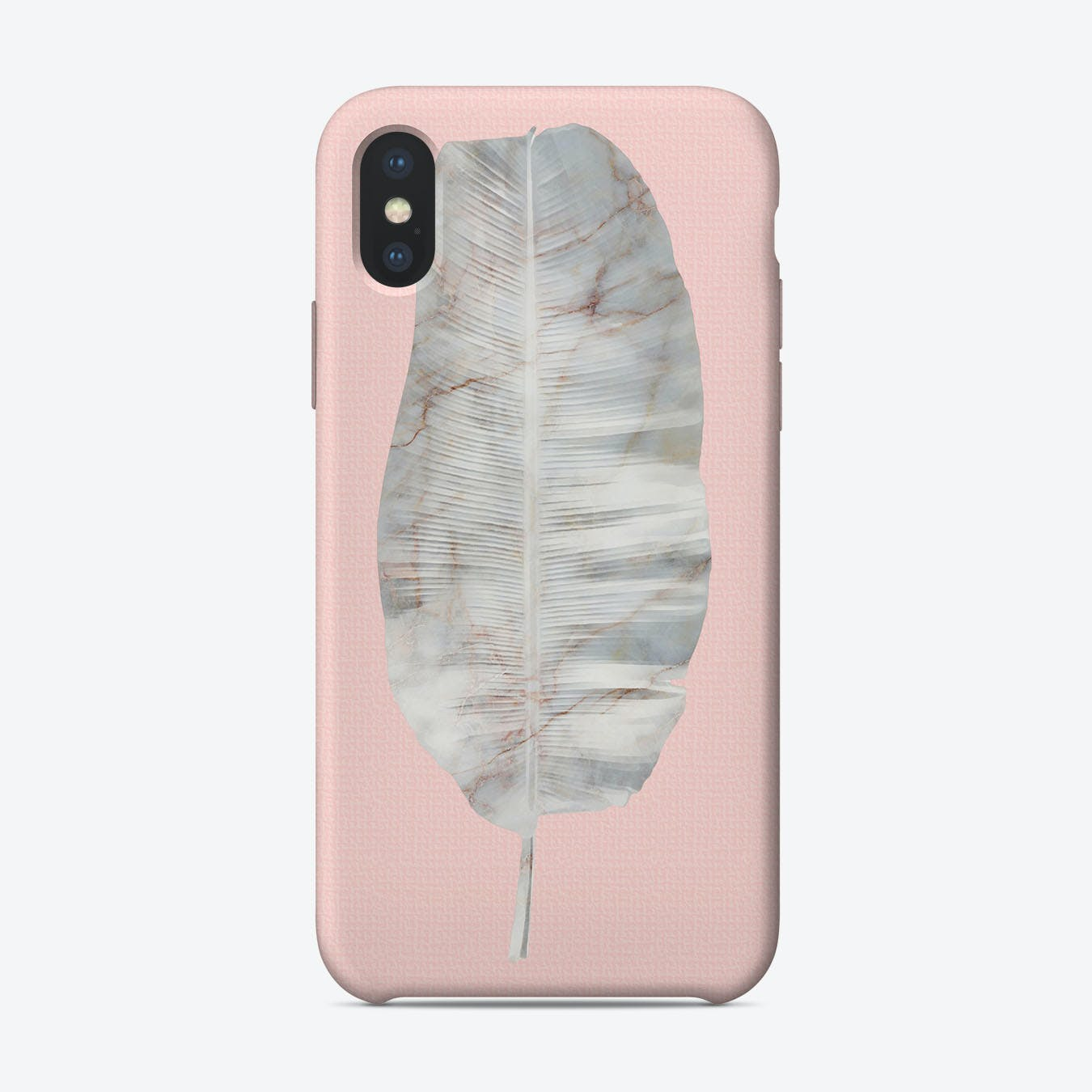 White Marble Banana Leaf on Pink Wall iPhone Case