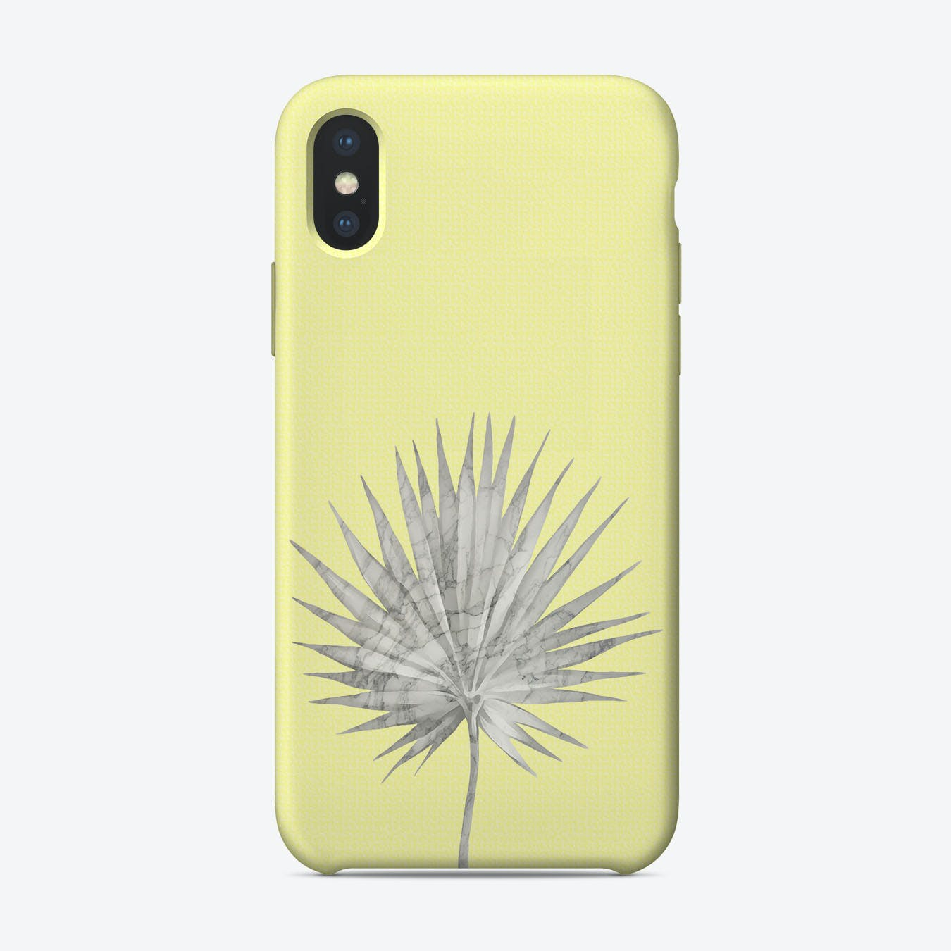 White Marble Fan Palm Leaf on Yellow Wall iPhone Case