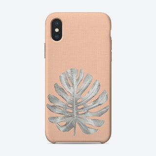 White Marble Monstera on Peach Wall iPhone Case
