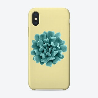 Cyan Succulent Plant on Yellow iPhone Case