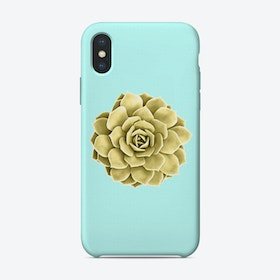 Yellow Succulent Plant on Teal iPhone Case