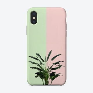 Banana Plant on Pink and Green Wall iPhone Case