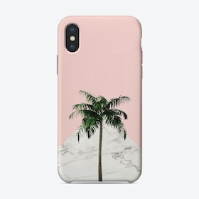 Palm Tree on Pink and Marble Wall iPhone Case