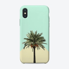 Palm Tree on Cyan and Lemon Wall iPhone Case