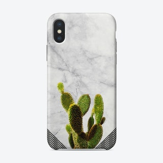 Cactus on White Marble and Zigzag Wall iPhone Case