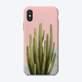 Cactus on Pink and Grey Marble Wall iPhone Case